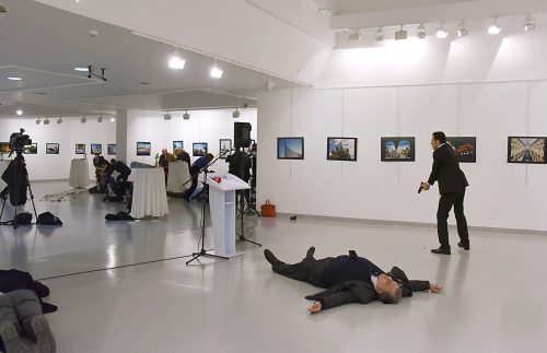 December 19, 2016: Andrey Karlov after being assassinated at an art gallery in Ankara